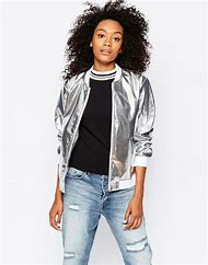 Sparking Silver Metallic Baseball Jackets …