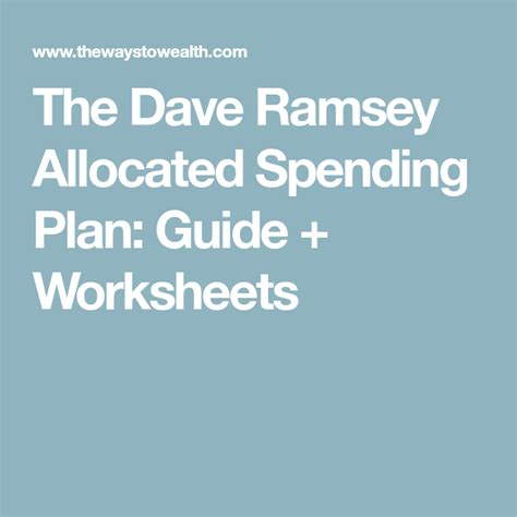 Atkinson insurance group is a dave ramsey preferred insurance agency, serving oregon & sw washington. The Dave Ramsey Allocated Spending Plan: Guide, Forms & Worksheets | Dave ramsey, Budgeting ...
