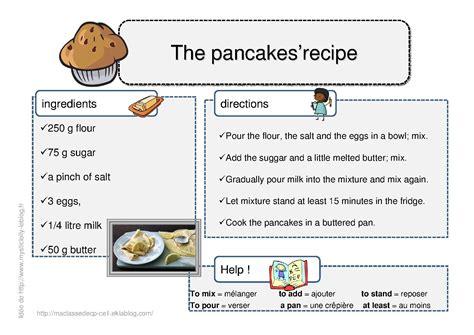 exercice recette de cuisine recette en anglais des pancakes so dessins