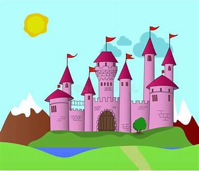 Castle Pink Kingdom Fantasy Flags Far