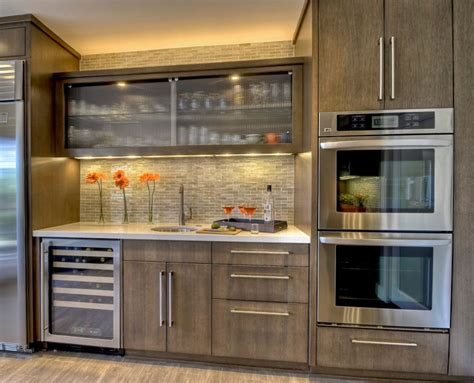 appealing stained kitchen cabinets design idea