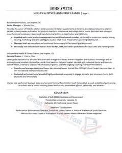 sle health and fitness resume executive resume sles professional resume sles