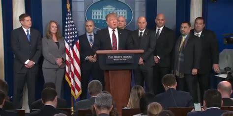 border trump patrol meme president entourage conference press instant bald donald hill flanked butt