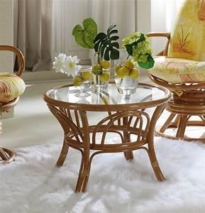 Salon En Rotin : table basse ronde en rotin brin d 39 ouest ~ Teatrodelosmanantiales.com Idées de Décoration