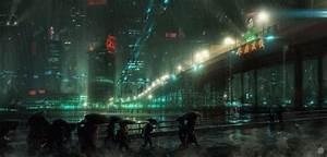 Electric Rain Cityscape Cyberpunk