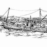 Boat Coloring Fishing Dock Fisherman Broken Traditional sketch template