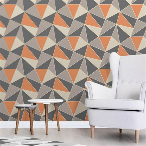 fine decor apex geo burnt orange wallpaper fd