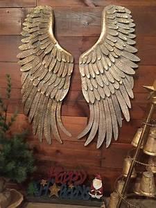 Metal Angel Wings Hanging Wall Decor Rustic Distressed