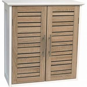 meuble haut de salle de bain 2 portes aspect chene With meuble haut suspendu salle de bain