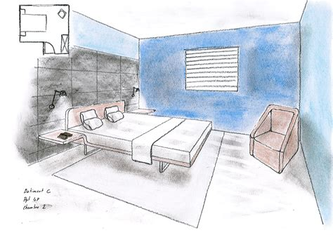 chambre en perspective dessins d architecture intrieure esquisses en