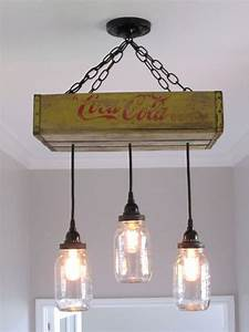 Coca cola chandelier ceiling light with mason jars yellow