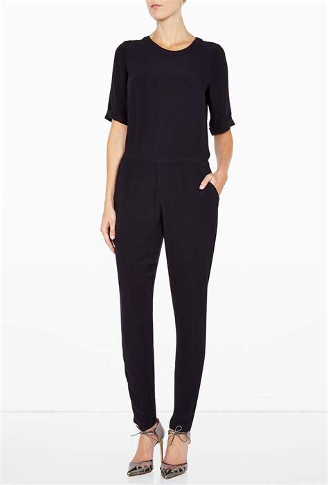 retro jumpsuit vintage black crepe jumpsuit in black lyst