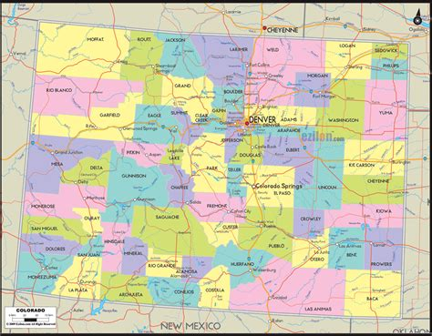 county map  colorado  roads map  colorado