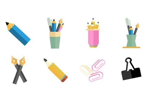 Office Supplies Vector by Pen Holder And Office Supplies Icons Vector