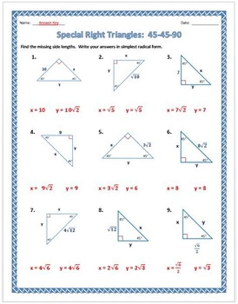 geometry special right triangles worksheet worksheets for