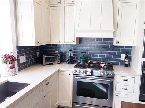 blue subway tile kitchen blue and copper subway tile kitchen 4841