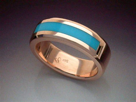 rose gold ring  turquoise inlay metamorphosis