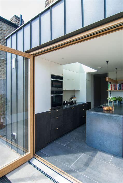 Zinc Cladding Oak Doors Kitchen Extension Brockley Terrace ...