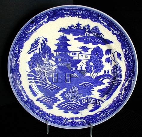 blue willow variant plate  birds   japan