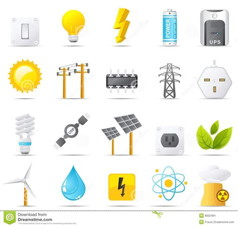 nouve icon set power energy  electricity stock images