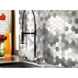Colorful Kitchen Backsplash Self Adhesive Metal Mosaic 10 Pcs Hexagon Peel N Stick Tiles 12x12in