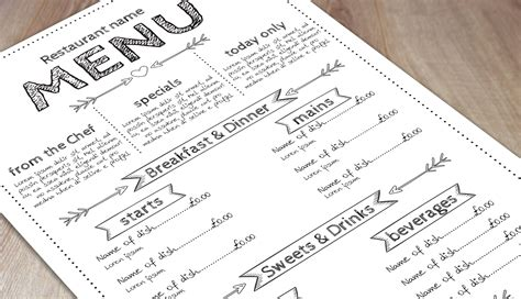 menu templates print  marketing