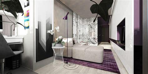 2 Apartments Under 30 Square Metre – One Light, One Dark : Beautiful Purple In Minimalist Apartment Design