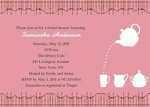 cheap print pink bridal shower tea party invitations With wedding shower invite wording