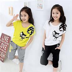2019 Wholesale New!summer Children Girls Clothing Set Short Sleeve Shirt + Pants Kids Fox