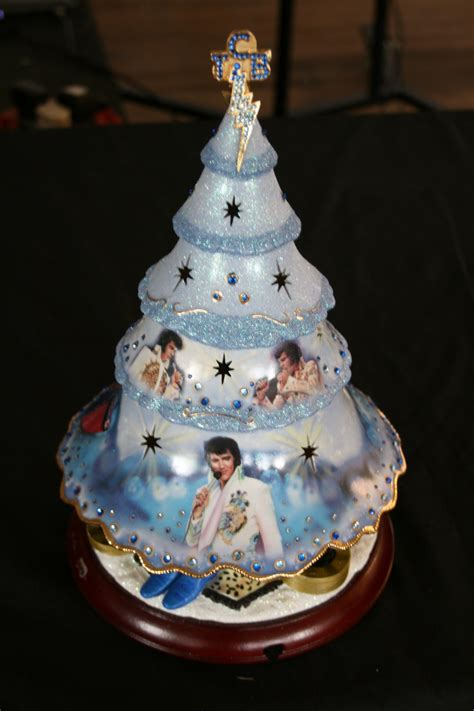 elvis presley blue christmas musical ceramic