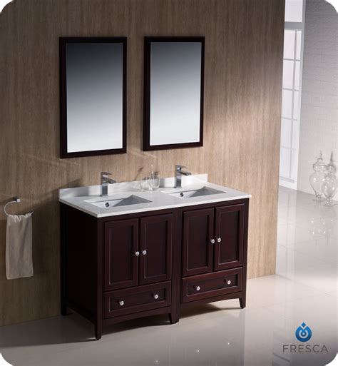 2 sink bathroom vanity 48 quot fresca oxford fvn20 2424mh traditional double sink