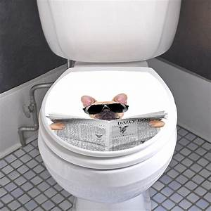 sticker abattant wc chien avec un journal et lunettes de With carrelage adhesif salle de bain avec abattant wc a led