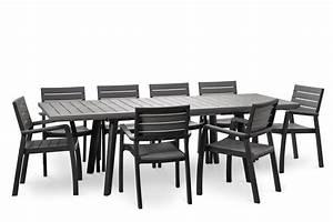 Salon De Jardin Gris Anthracite : salon de jardin harmony gris anthracite avec table extensible oogarden france ~ Melissatoandfro.com Idées de Décoration