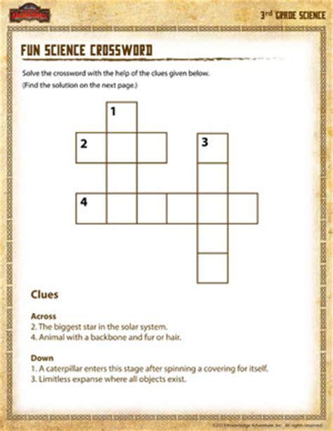 science crossword free 3rd grade science worksheets