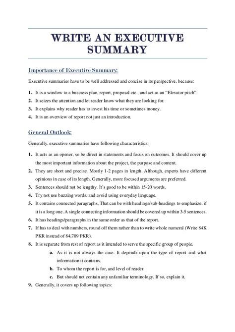 What To Write In An Executive Summary For A Resume by Executive Summary Tips 2016