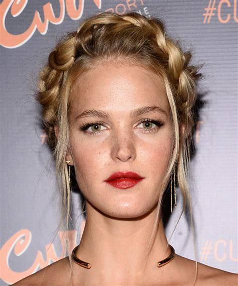 erin heatherton long straight casual braided updo