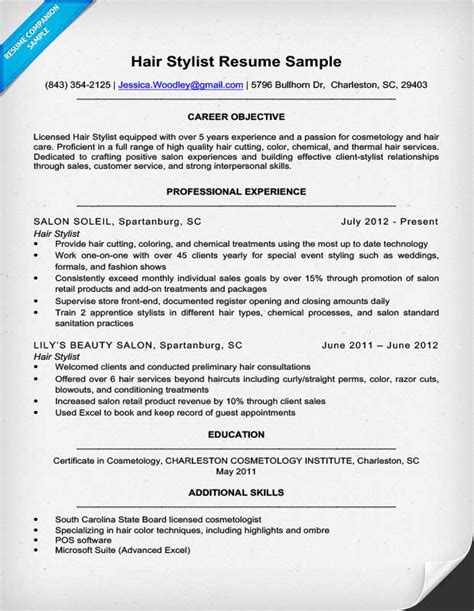 Resume For Hair Salon by Hair Stylist Resume Sle Writing Tips Resume Companion