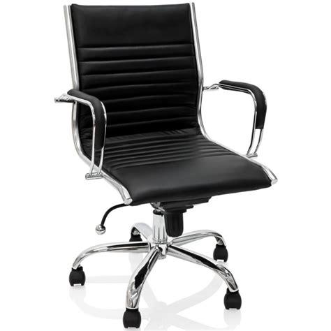 fauteuil bureau cuir noir fauteuil de bureau en cuir noir et métal chromé
