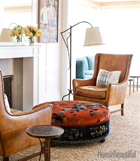 dunham fireplace seating area leather chairs