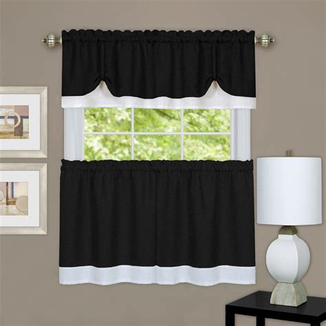 Black And White Valance achim darcy black white polyester tier and valance curtain