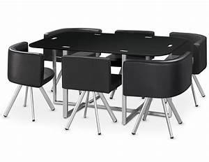 Table Et Chaise Encastrable : table et 6 chaises mosaic 150 noir ~ Louise-bijoux.com Idées de Décoration