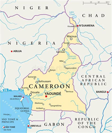 equatorial guinea political map stock vector