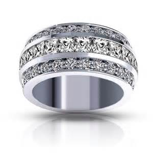 wedding band sets for 3 00 ct three row and princess cut diamond