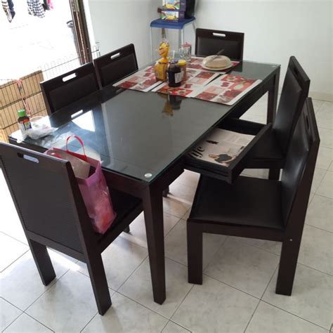 lorenzo dining table set with tempered glass top 3years