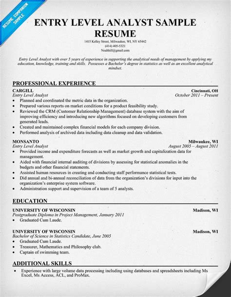 Entry Level Resume Exle by How To Write A Resume For A Business Analyst Position