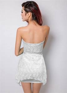 Sexy Hot Sale White Lace Strapless Mini Dress N10086