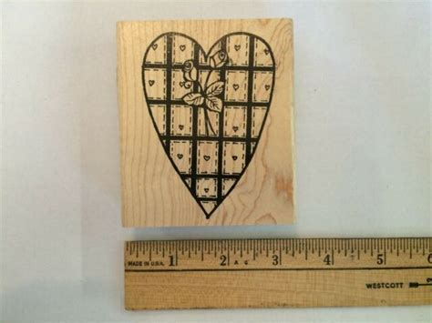 northwoods rubber stamps heart  square block