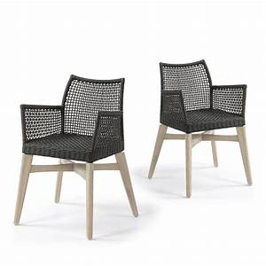 Lot Chaise De Jardin : lot de 2 chaises avec accoudoirs indoor outdoor houdini by drawer ~ Teatrodelosmanantiales.com Idées de Décoration