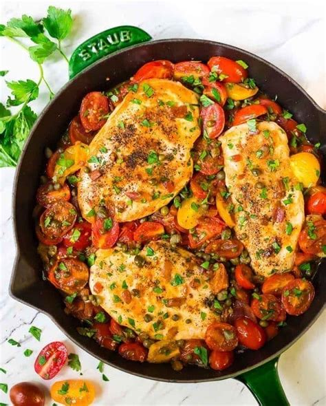 skillet tomato chicken  plated  erin