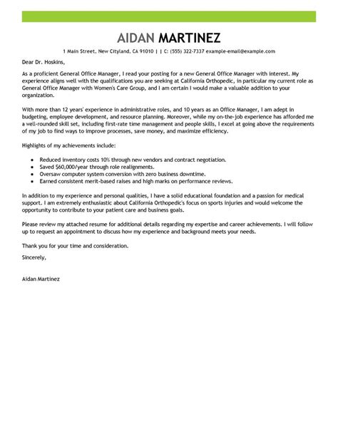 bureau manager cover letter for office manager sle cover letter